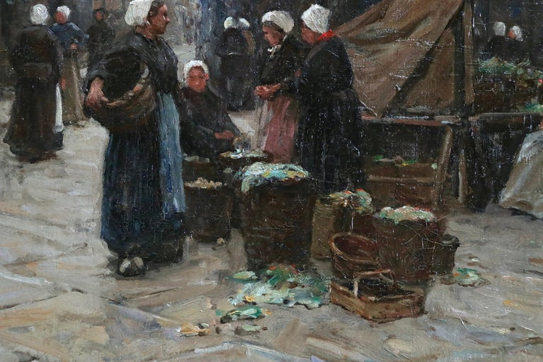 Market Day - Dieppe - 19th Century Oil, Figures in Cityscape by Terrick Williams For Sale 5