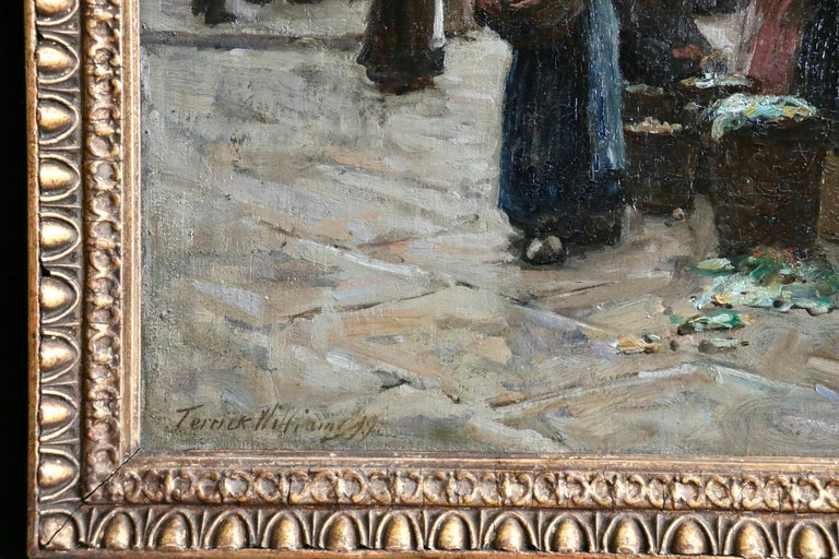 Market Day - Dieppe - 19th Century Oil, Figures in Cityscape by Terrick Williams For Sale 6