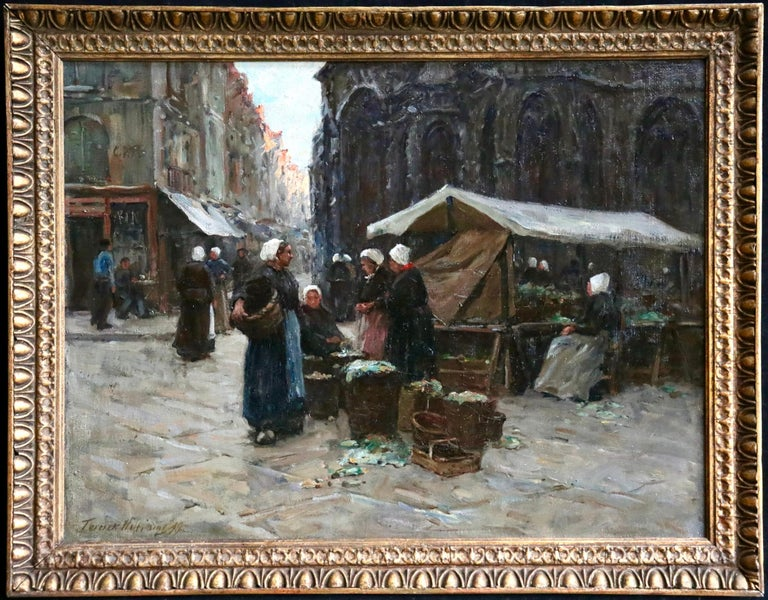 Oil on original canvas by Terrick John Williams depicting women in a market in Dieppe. Signed and dated 1899 lower left and titled verso. Framed dimensions are 24 inches high by 31 inches wide.   Provenance: Exhibited at the Royal Academy, London