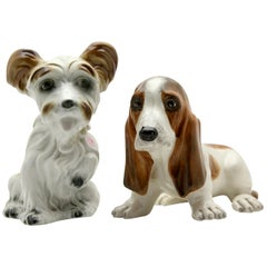 Terrier and Basset Hound, Vintage Porcelain Figurines, 1960s