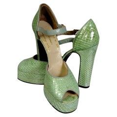 Terry de Haviland 1970's Spring Green Snakeskin Platform Shoes