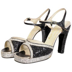 "Terry de Havilland 1970's Black and Silver Glitter Vintage Platforms ""Bett"""