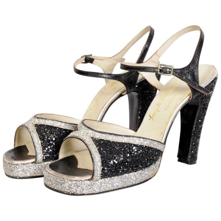 "Terry de Havilland 1970's Black and Silver Glitter Vintage Platforms ""Bett"" For Sale"