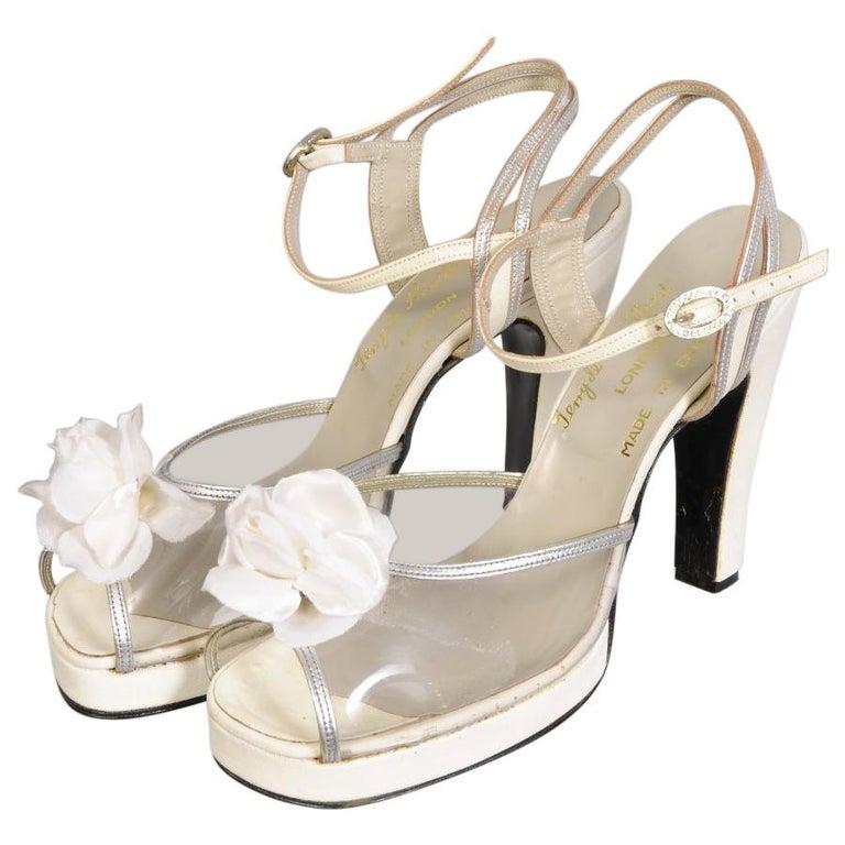 Terry De Havilland 1970's Vintage Wedding Shoes Silver Heart & Flower Decoration For Sale