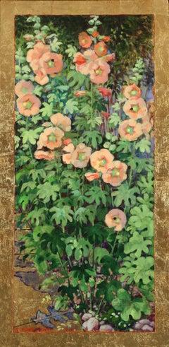 "Terry Furchgott, ""Apricot Hollyhocks on Gold"", 29"" x 14"""