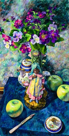 "Terry Furchgott, ""Girl with Green Apples and Limoges"", 40"" x 20.75"""