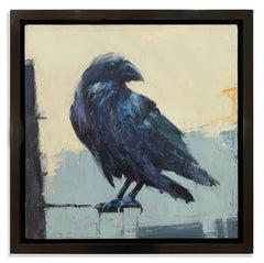 Black & Blue (Crow, intelligent, black, blue, purple, green, pastel background)