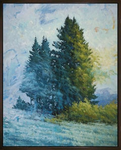 Family of Pines (Evergreens, alpine forest, blue/green/purple/yellow/orange)
