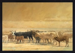 The Dusty Herd (cattle, yellow, brown)