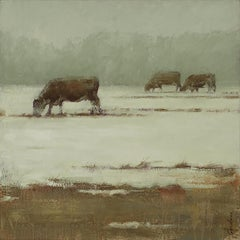 Three Cows, Early Spring (West, ethereal, grazing)