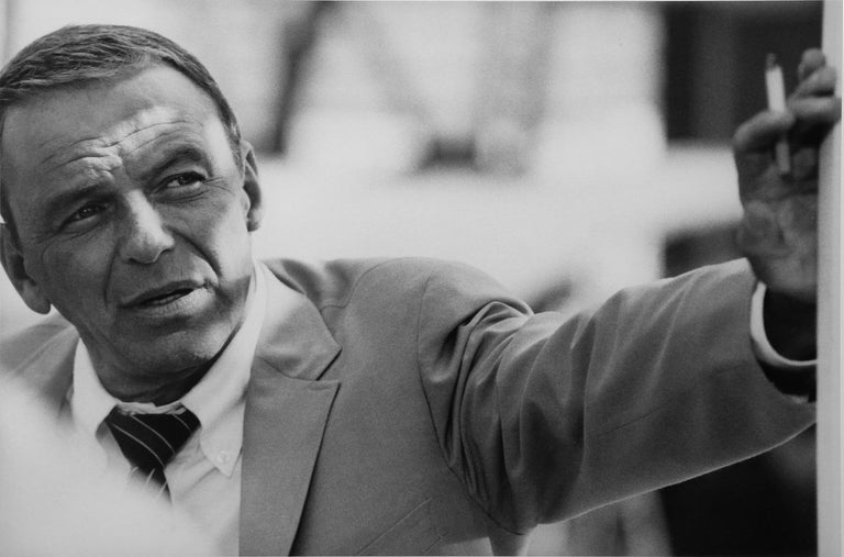 British Terry O' Neill Black and White Photograph of Frank Sinatra in Miami, 1968 For Sale