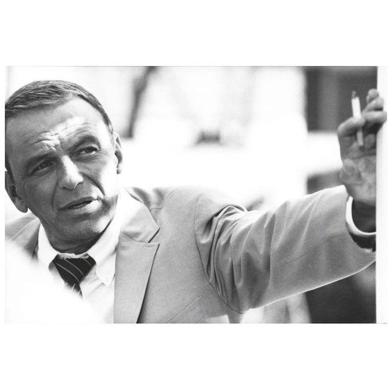 Terry O' Neill Black and White Photograph of Frank Sinatra in Miami, 1968 For Sale