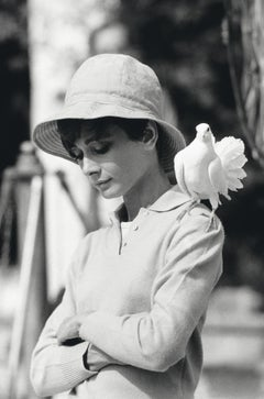Audrey Hepburn with Dove - Terry O'Neill (Black and White Photography)