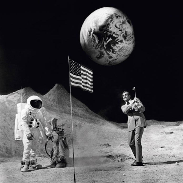 Terry O'Neill Black and White Photograph - Bond on the Moon