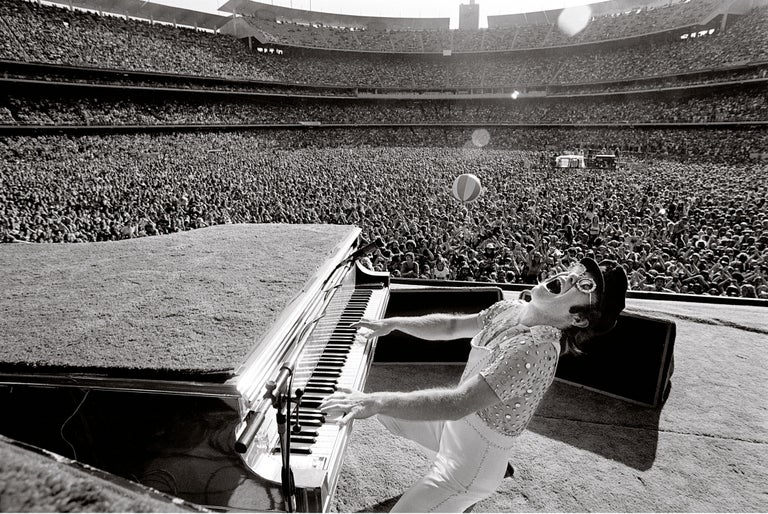 Terry O'Neill Black and White Photograph - Elton John at Dodger Stadium-