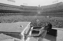 Terry O'Neill (Black and White) - Elton John, Dodger Stadium, Los Angeles
