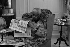 Nelson Mandela Reading a Newspaper