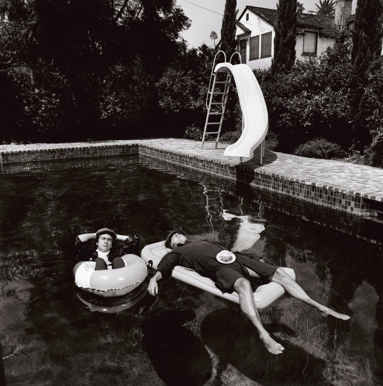Peter Cook & Dudley Moore, Beverly Hills - Terry O'Neill (Black and White) - Photograph by Terry O'Neill
