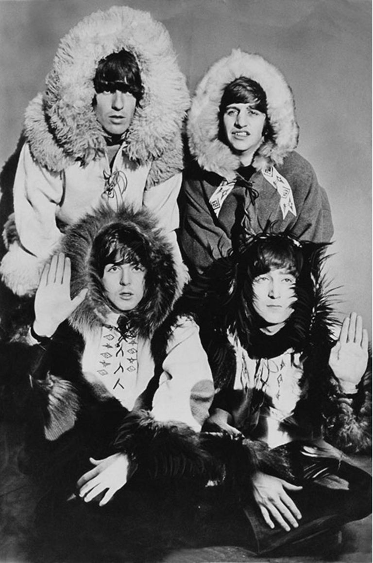 Terry O'Neill Black and White Photograph - The Beatles in Furs