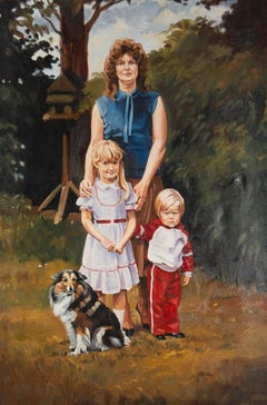 Terry Shelbourne (1930-2020) - 1982 Oil, Mother, Children And Dog