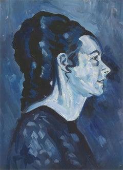 Terry Shelbourne (1930-2020) - Contemporary Oil, Portrait in Blue
