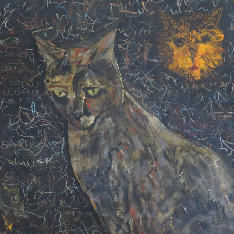 Terry Turrell shares his home with cats and dogs which he cares for with diligence since his wife passed away. They are like his children often acting as his models in the studio. This painting has an unusual chalkboard background that is
