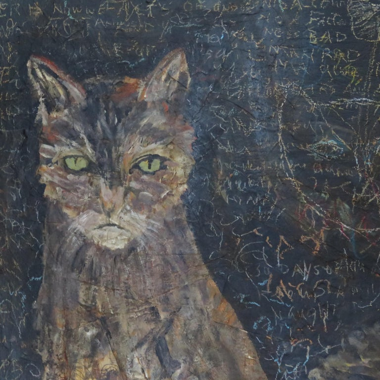 American Terry Turrell Painting of Cats a Certain Uncertainty For Sale