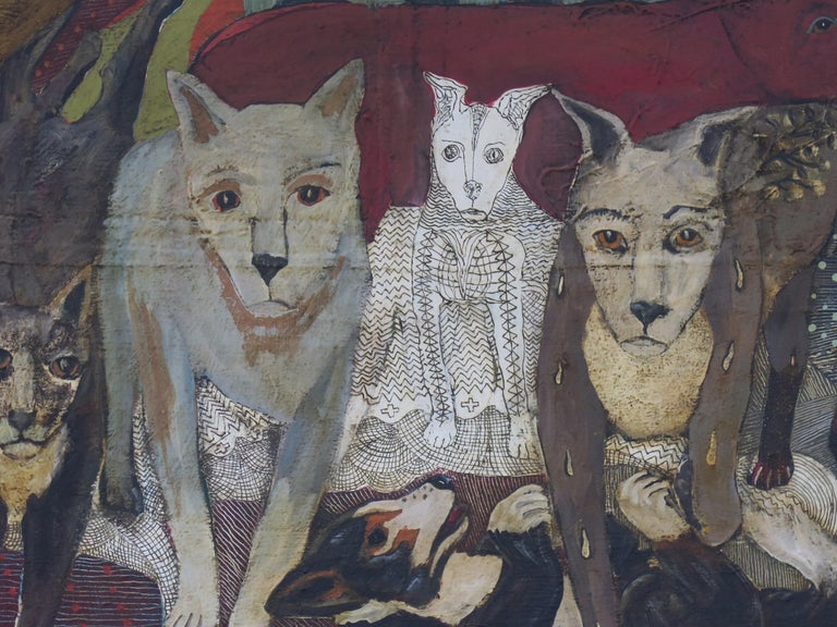 Painting on wood panel of a pack of dogs. Terry Turrell lives as a recluse with his dogs. In his dog walks they get to know the other neighbourhood dogs. They often become the subjects of Terry's paintings.