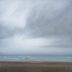 Beach in Low Visibility - contemporary seaside beach landscape painting
