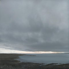Estuary in Changing Weather - contemporary seaside beach landscape painting