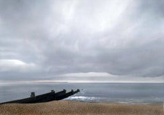 Whitstable Grey-contemporary acrylic airbrush painting seascape clouds boat sea