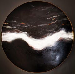 """Round Abstract Oil Painting """"Distance"""" on Board with Yellow Copper Frame"""