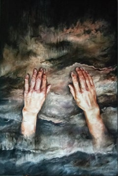 """Large Abstract and Realistic Oil on Board Painting """"Falling"""""""