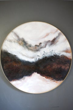 """Round Abstract Oil on Board Painting """"Transparency"""" with Yellow Copper Frame"""