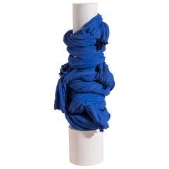 Tertium Quid Vase S3 Porcelain Blue and White Fabric Texture