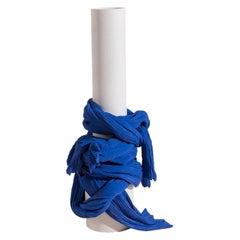 Tertium Quid Vase S8 Porcelain Blue and White Fabric Texture