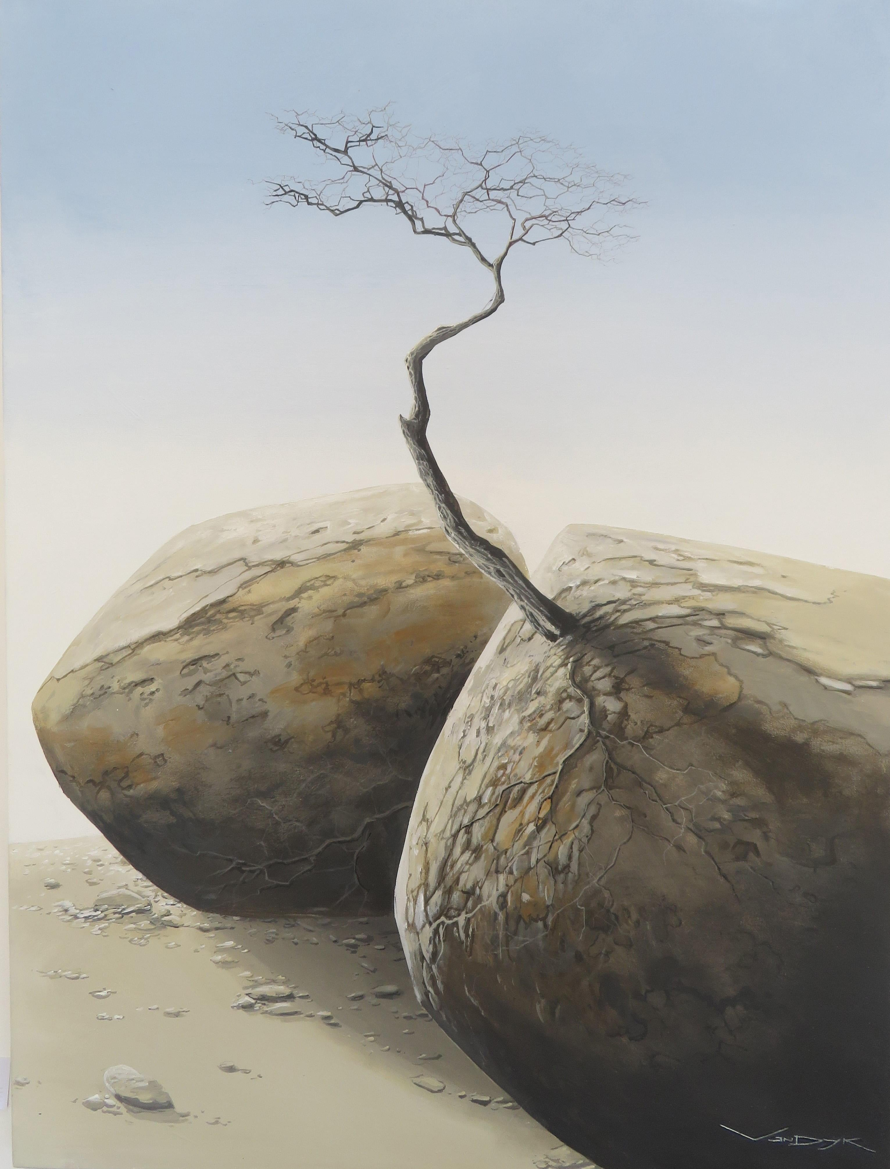 "Surrealistic Acrylic on Canvas Landscape ""Dual Strength"""
