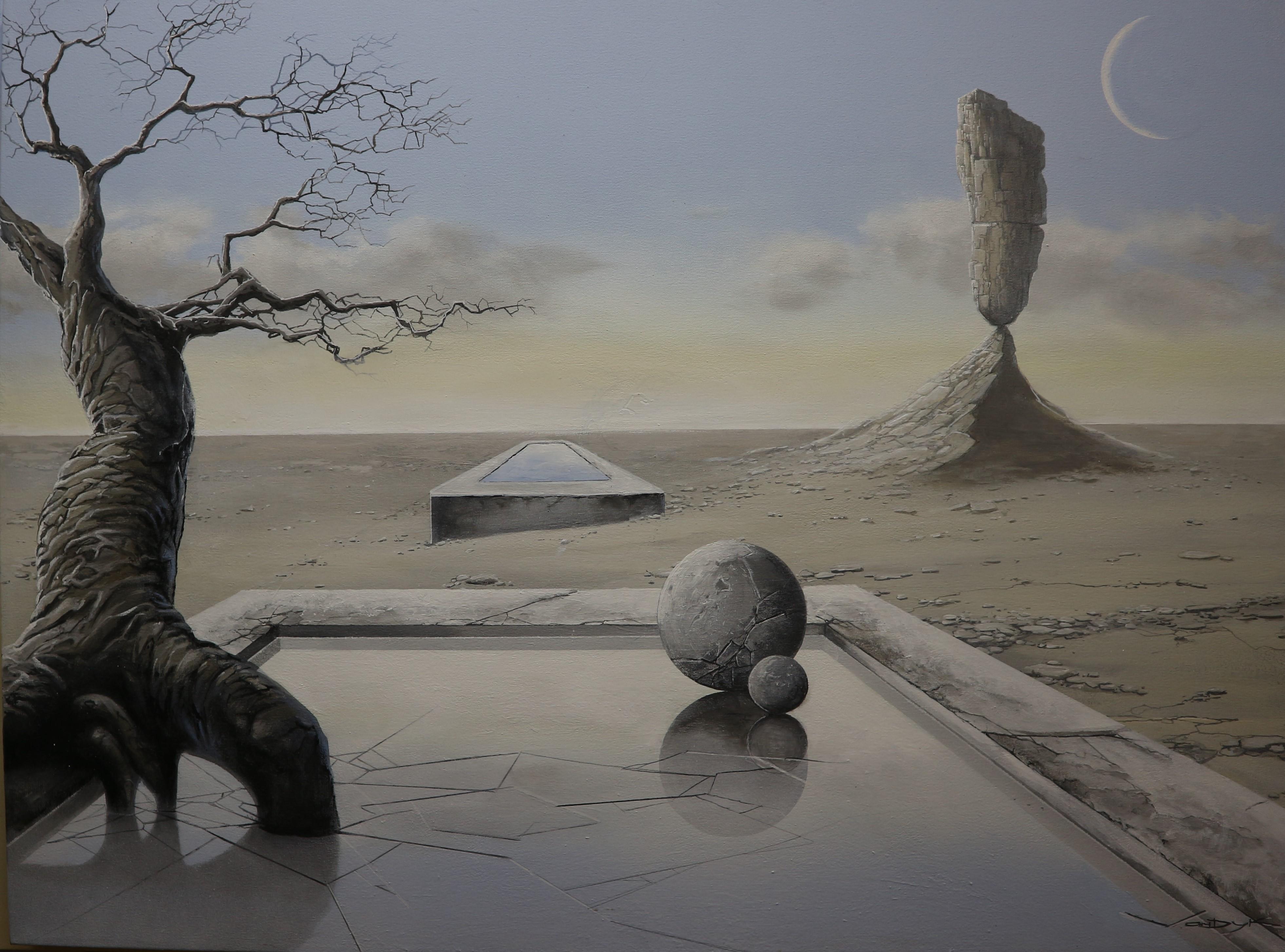 "Surrealistic Acrylic Landscape on Canvas ""Oasis"""