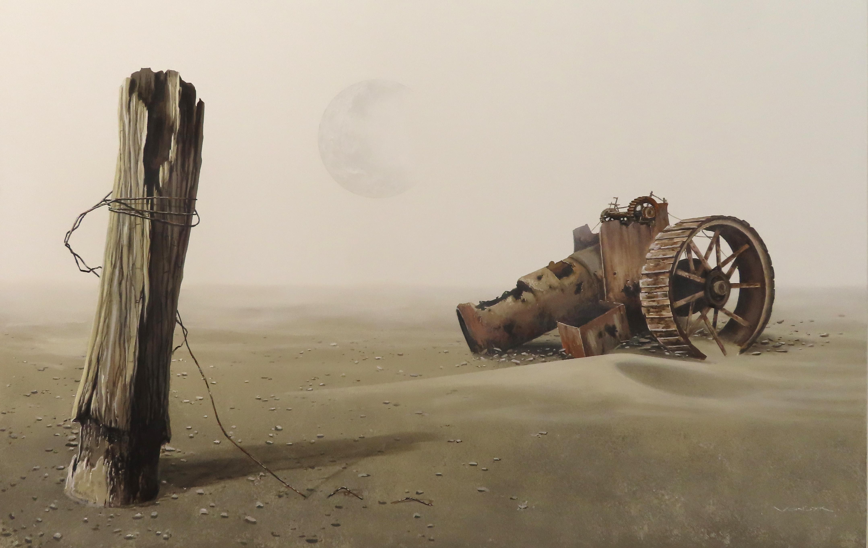 "Surrealistic Acrylic on Canvas Landscape ""Forgotten Weapons of Destruction"""