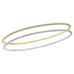 Tesora Contemporary Yellow and White 18 Karat Gold and Diamond Bangle Bracelet