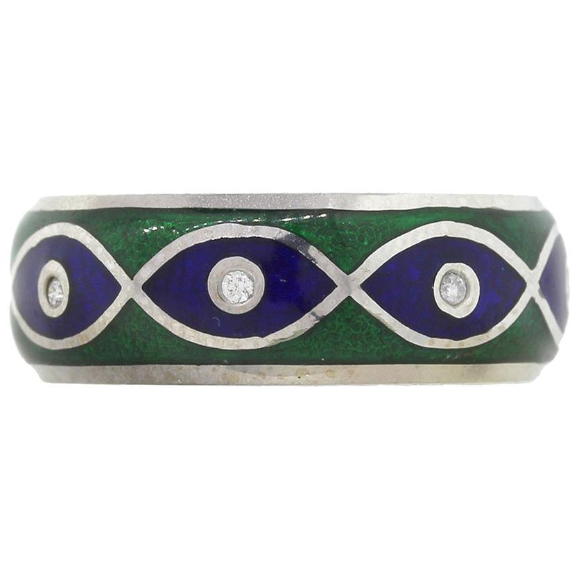 Tesoro Diamond Blue and Green Evil Eye Enamel Ring