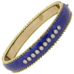 Tesoro Diamond Cobalt Blue Enamel Bangle