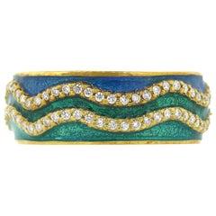 Tesoro Diamond St. Barth Green Blue Enamel Band Ring
