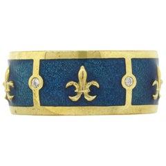 Tesoro Fleur De Lis Ocean Blue Enamel Band Ring
