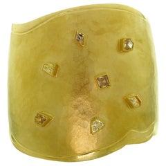 Tess Diamond 22 Karat Yellow Gold Open Wide Cuff Bangle Bracelet