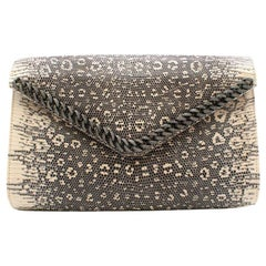 Tess Van Ghert Lizard Leather Chain Trim Clutch 25cm