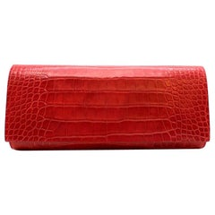 Tess Van Ghert Red American Alligator Clutch 25cm
