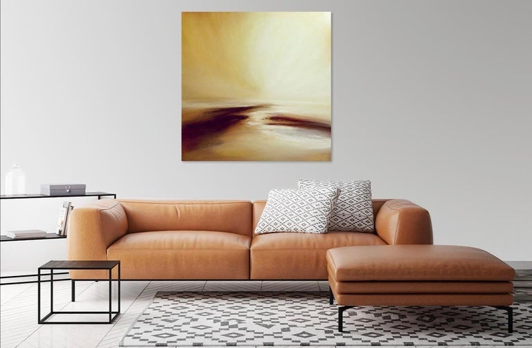 Arcadia Original, Oil Paint Canvas  Abstract Landscape Impressionism Signed  - Contemporary Art by Tessa Houghton