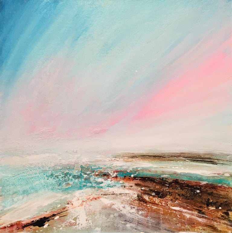 Tessa Houghton Landscape Painting - Convergence Original, Personally Signed Oil Paint Canvas Panel Framed Violet
