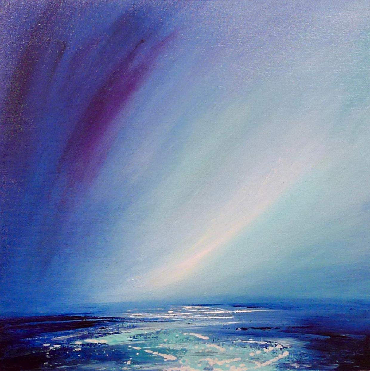 Drops of Light Abstract Oil on Panel Atmospheric Seascape Hand finished frame